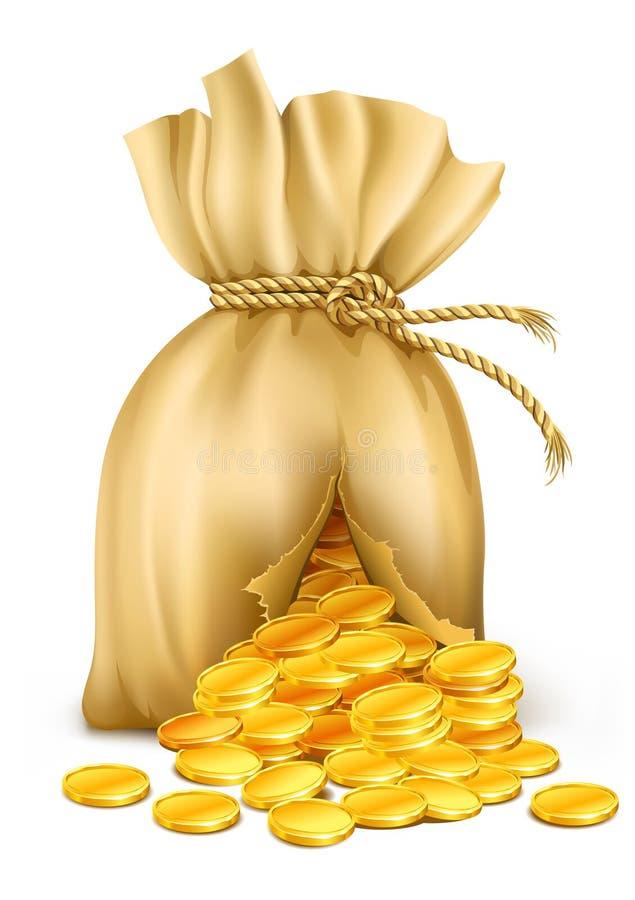 Saco rachado prendido pela corda com moedas de ouro ilustração royalty free