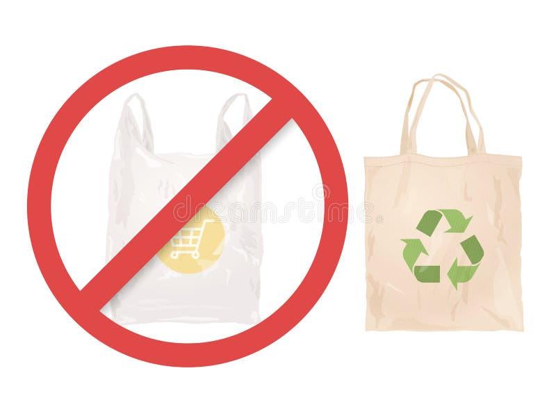 Saco reusável de pano em vez do saco de plástico ilustração royalty free