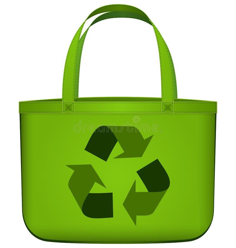 Saco reusável verde com reciclagem do vetor do símbolo ilustração royalty free