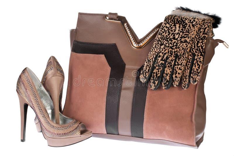 Saco, sapatas e luvas das mulheres fotos de stock royalty free