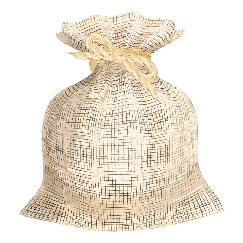 Saco tecido linho da tela Saco da textura do linho com ribb de linho da corda ilustração royalty free