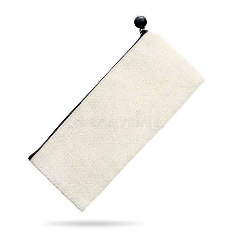 Saco vazio da tela isolado no fundo branco Saco do zíper feito do material de linho da tela Trajeto de grampeamento fotografia de stock
