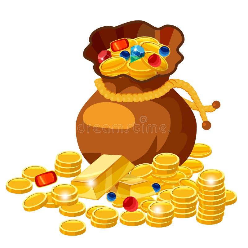 Saco velho completamente de moedas de ouro e de joia, estilo dos desenhos animados, vetor, ilustração, isolada ilustração do vetor