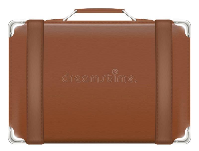 Saco velho marrom real do curso da mala de viagem do couro do vintage ilustração stock