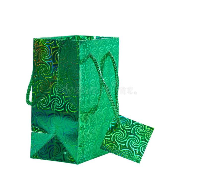 Saco verde do presente imagens de stock