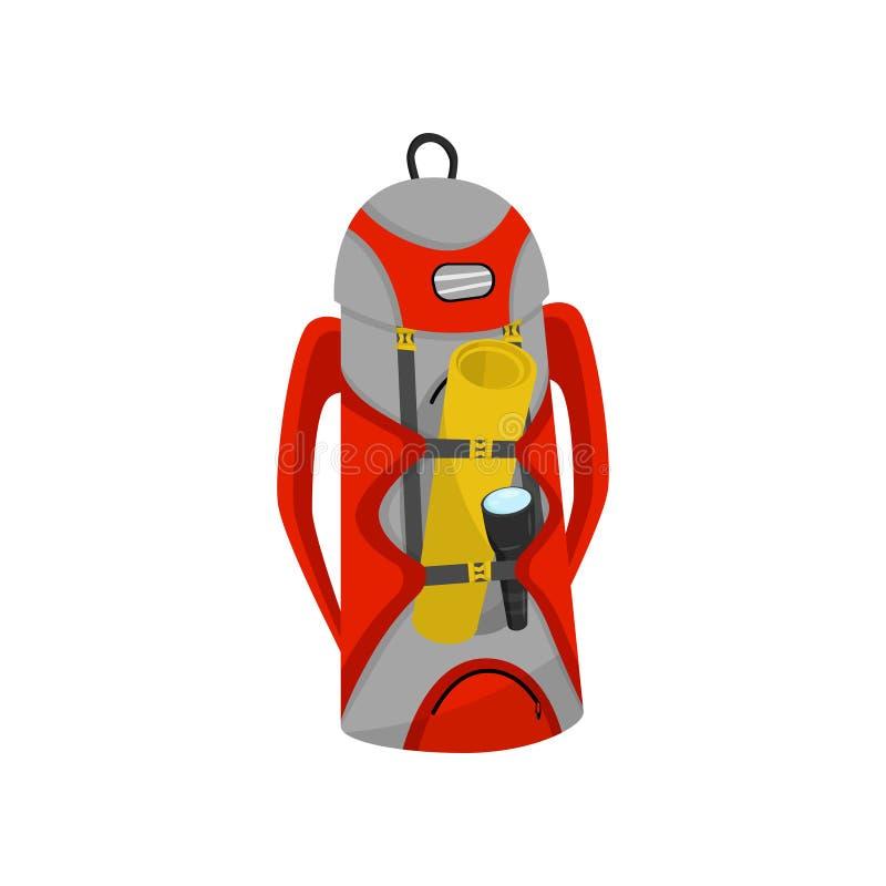 saco Vermelho-cinzento do turista com esteira e a lanterna elétrica de acampamento Grande trouxa de caminhada Elemento liso do ve ilustração royalty free