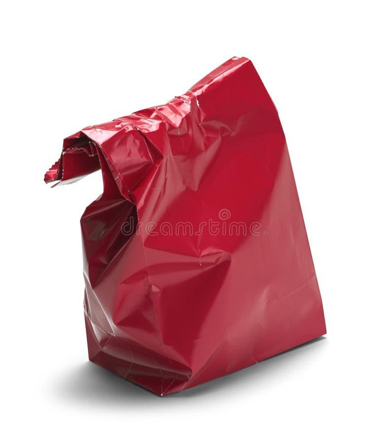 Saco vermelho enrugado foto de stock royalty free