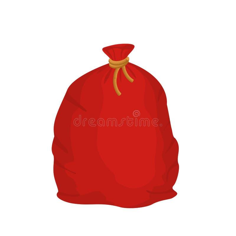 Saco vermelho Santa Claus Grande saco do feriado para presentes Bagful grande FO ilustração stock