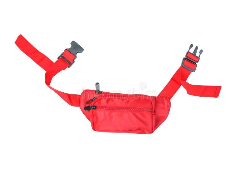 Saco vermelho vívido da cintura da vista superior isolado no fundo branco imagens de stock royalty free