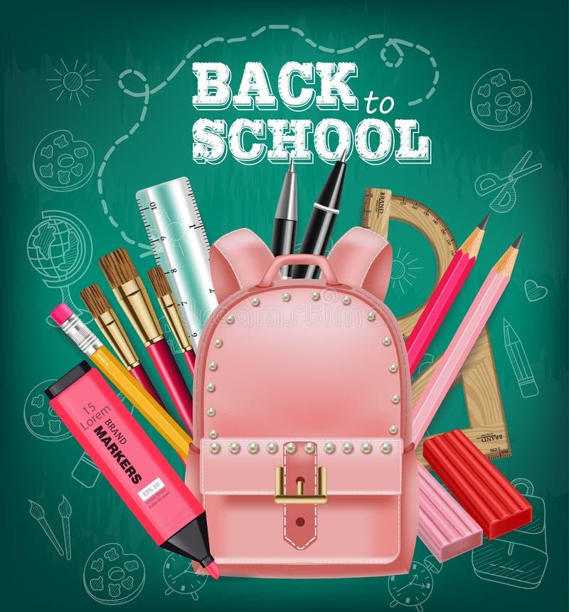 Sacola cor-de-rosa de volta ao vetor do cartão da escola realístico Fundo da placa de giz Ilustrações 3d detalhadas ilustração do vetor