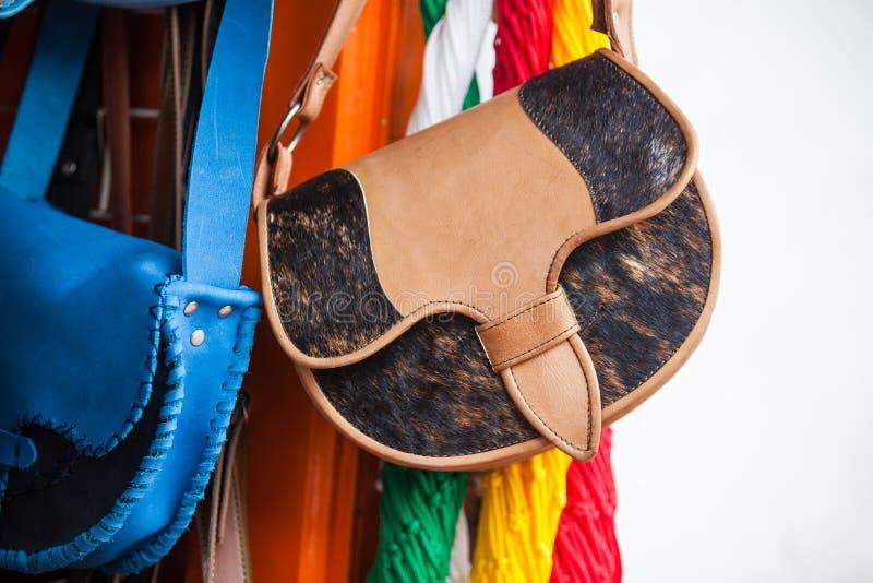 A sacola de couro tradicional colombiana chamou Carriel foto de stock
