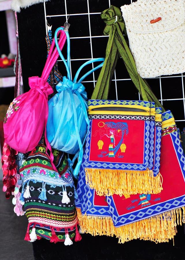 Sacos bordados imagens de stock