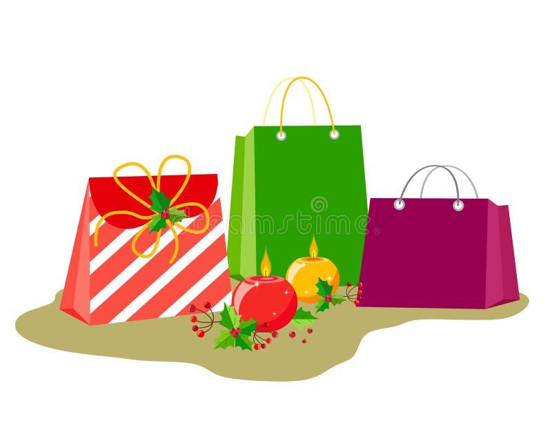 Sacos com presentes e decoração por feriados do Natal ou do ano novo Velas ardentes redondas com bagas e folhas do azevinho em um ilustração stock