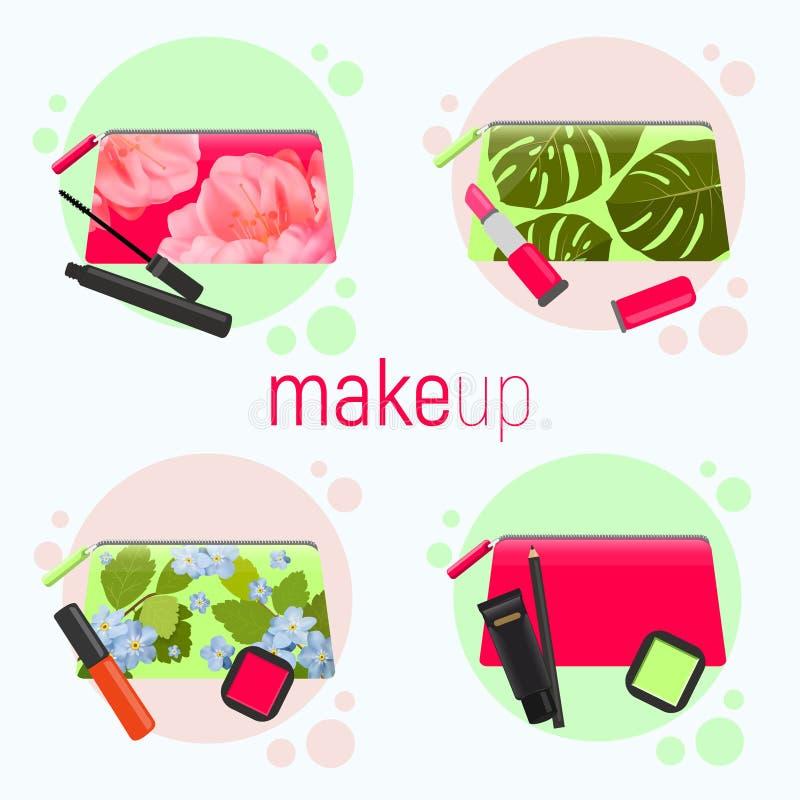 Sacos cosméticos brilhantes com testes padrões bonitos diferentes - rosas, folhas tropicais Sacos cosméticos com as ferramentas p ilustração do vetor