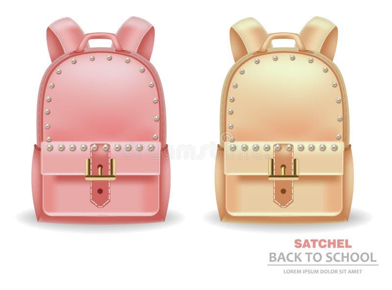 Sacos da sacola com o vetor das pérolas realístico De volta ao conceito da escola r ilustração royalty free