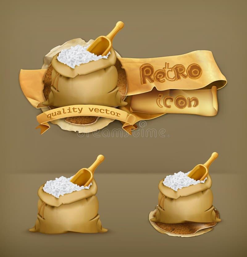 Sacos de ícones do vetor do arroz ilustração royalty free