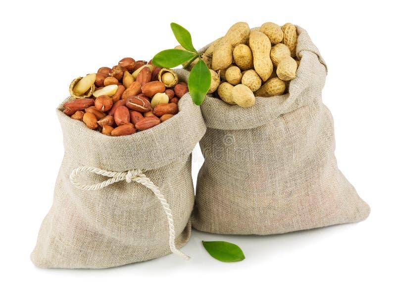 Sacos de amendoim com folhas verdes fotos de stock royalty free
