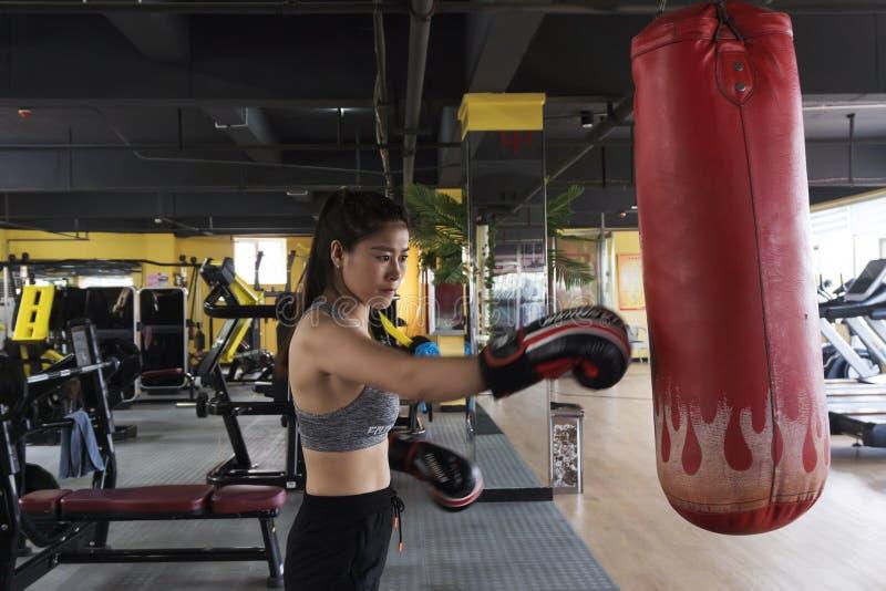 Sacos de areia golpeados uma mulher no gym foto de stock royalty free