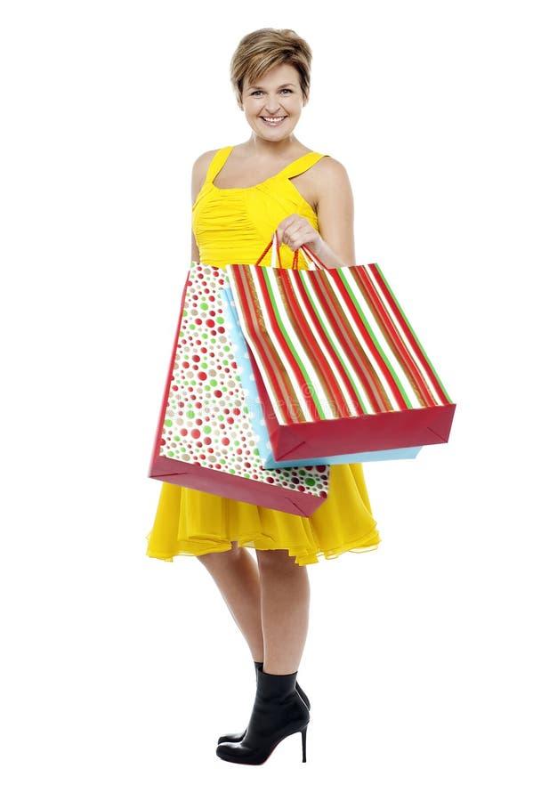 Sacos de compra carreg impressionantes da mulher elegante fotografia de stock