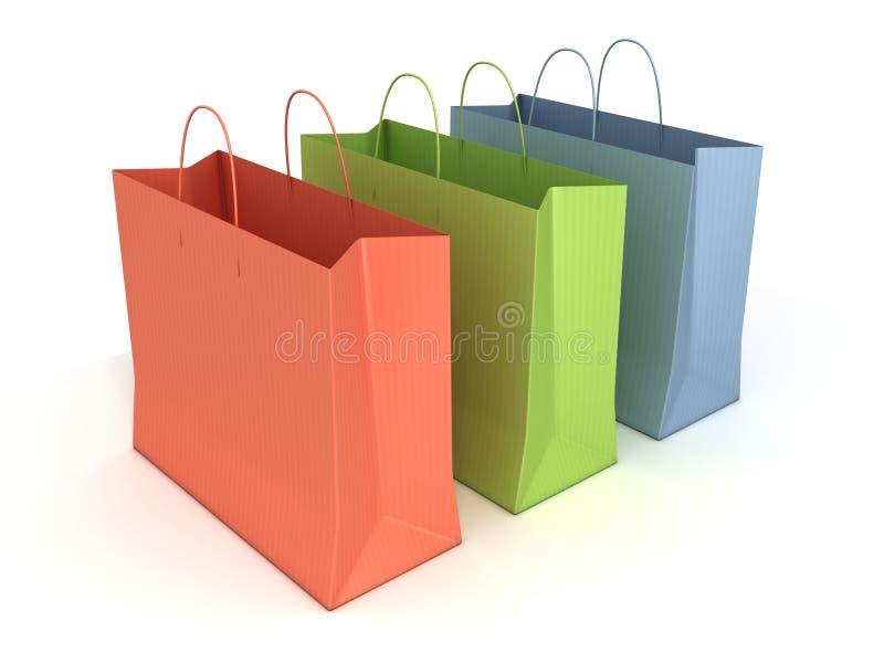 Sacos de compra coloridos isolados ilustração do vetor