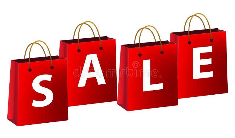 Sacos de compra com venda ilustração stock