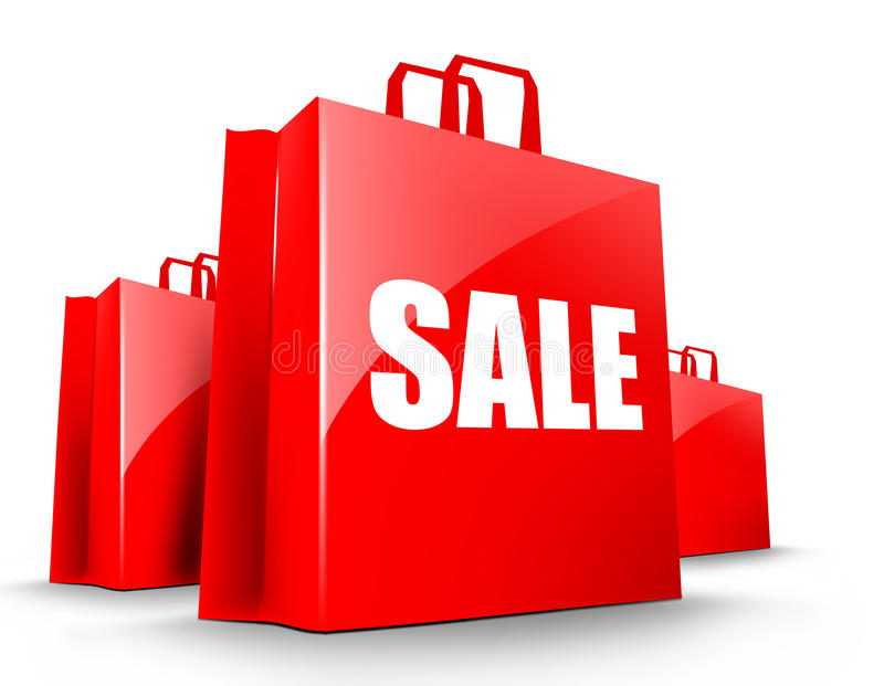 Sacos de compra da venda ilustração stock