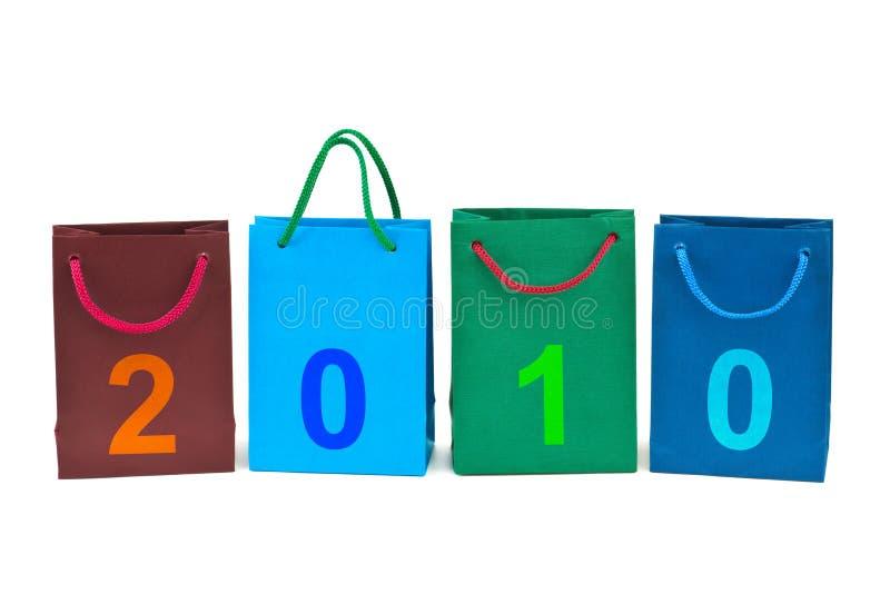 Sacos de compra e números 2010 fotografia de stock royalty free