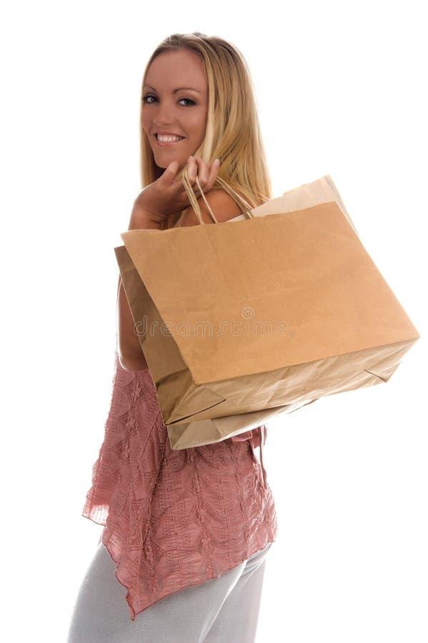 Sacos de compra em branco fotografia de stock