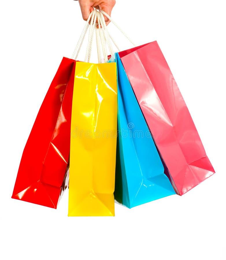 Sacos de compra no branco fotografia de stock royalty free