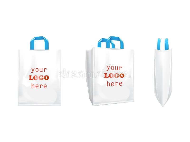 sacos de compras brancos do vetor 3D com punhos azuis ilustração do vetor