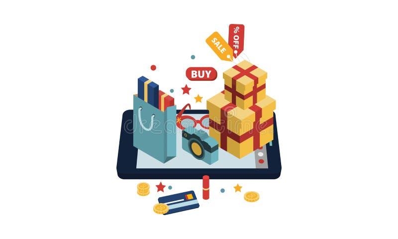 Sacos de compras, caixas de presente, acessórios em uma tabuleta grande, ilustração de compra em linha do vetor do conceito ilustração do vetor