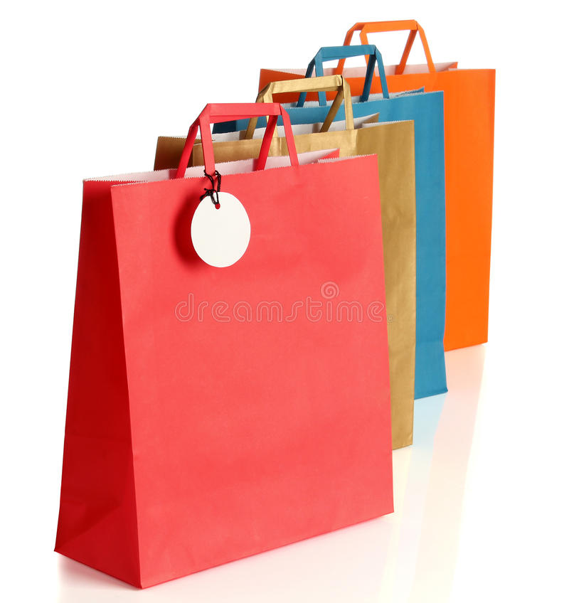 Sacos de compras coloridos sortidos imagens de stock royalty free