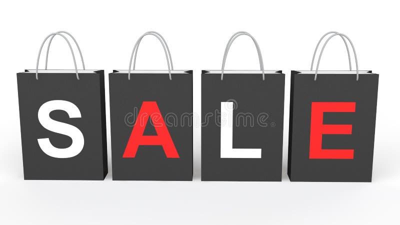 sacos de compras do preto 3D com venda da palavra ilustração royalty free