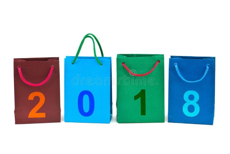 Sacos de compras e números 2018 fotos de stock royalty free