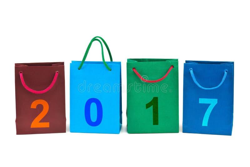 Sacos de compras e números 2017 foto de stock