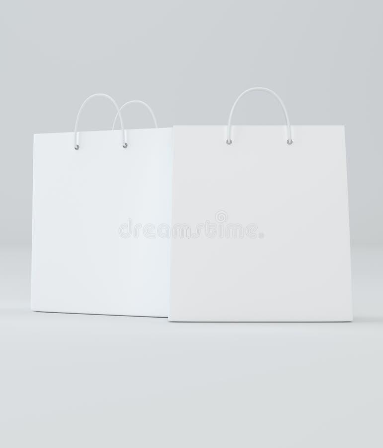 Sacos de compras um brancos clássicos para anunciar e marcar ilustração stock