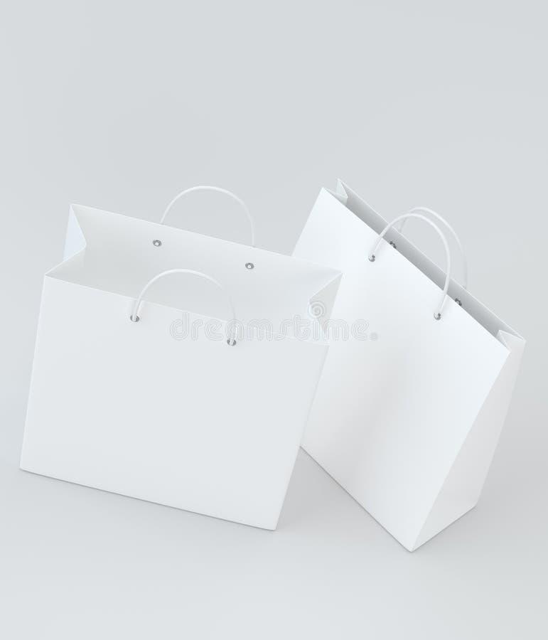 Sacos de compras vazios na rendição do estúdio para anunciar e marcar Vista superior ilustração 3D ilustração do vetor