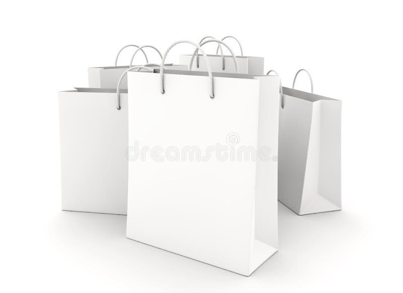Sacos de compras vazios no branco ilustração royalty free
