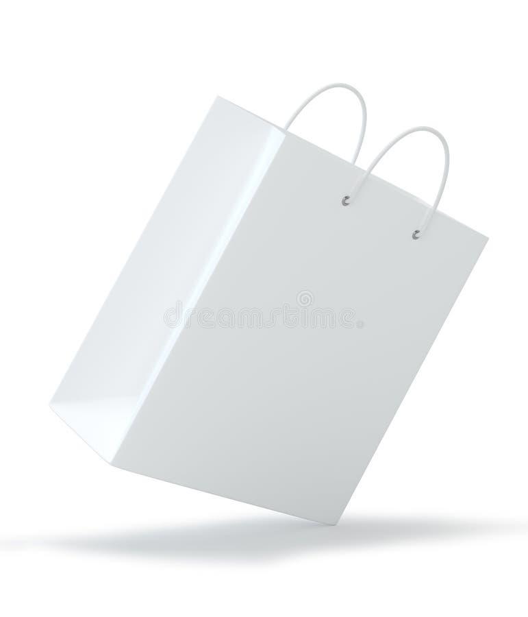 Sacos de compras vazios no branco para anunciar e marcar Isolado no fundo branco rendição 3d ilustração stock