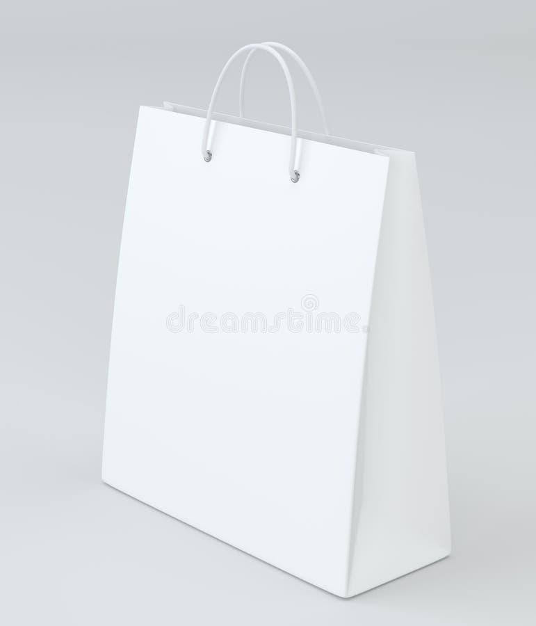 Sacos de compras vazios no branco para anunciar e marcar rendição 3d ilustração do vetor