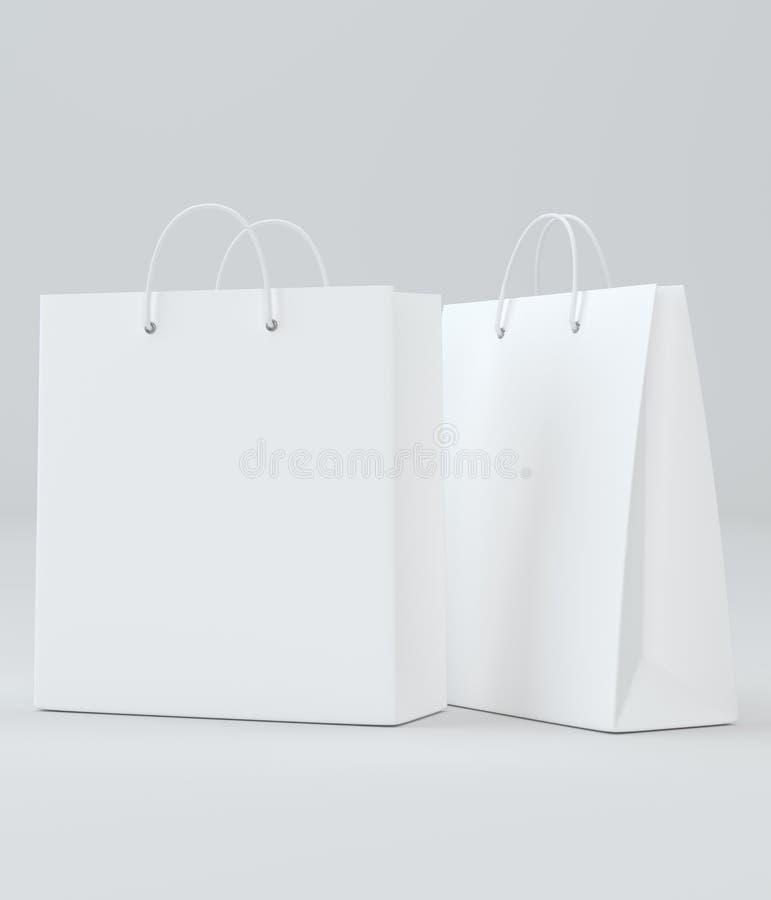 Sacos de compras vazios para anunciar e marcar ilustração 3D ilustração stock