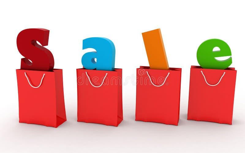 Sacos de compras vermelhos com a venda da inscrição para dentro ilustração royalty free