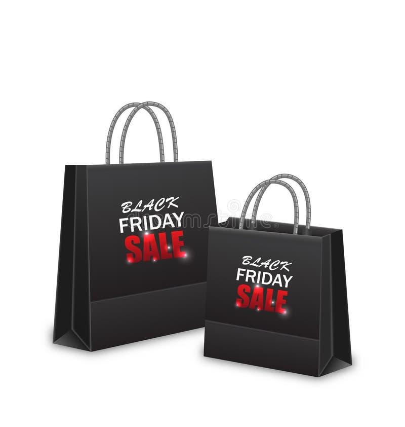 Sacos de papel da compra para vendas de Black Friday ilustração royalty free