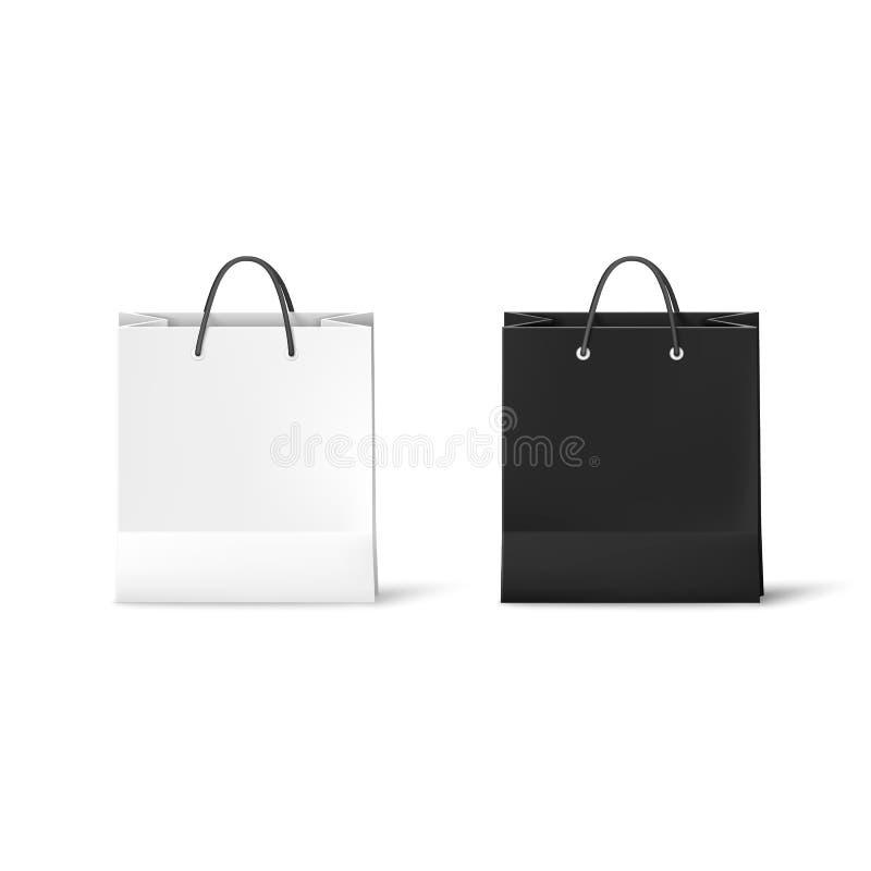 Sacos de papel preto e branco Ilustração realística do saco isolada no fundo branco Vetor ilustração stock