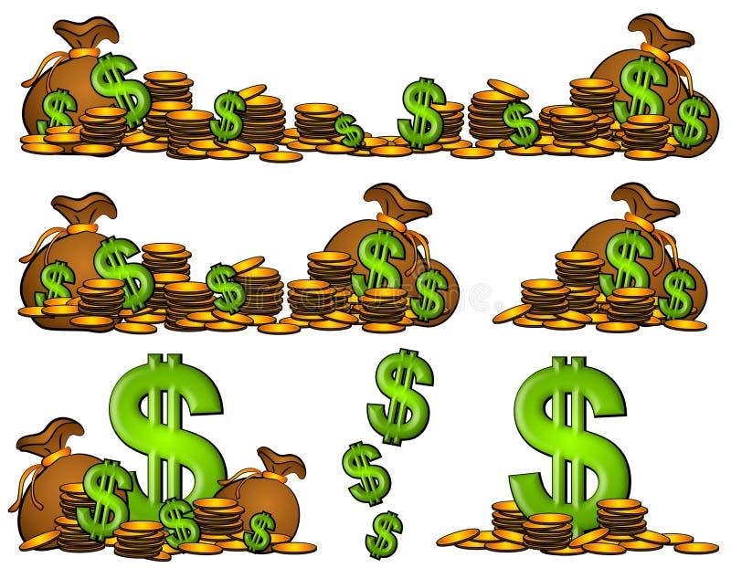 Sacos de sinais do dinheiro e de dólar das moedas ilustração royalty free