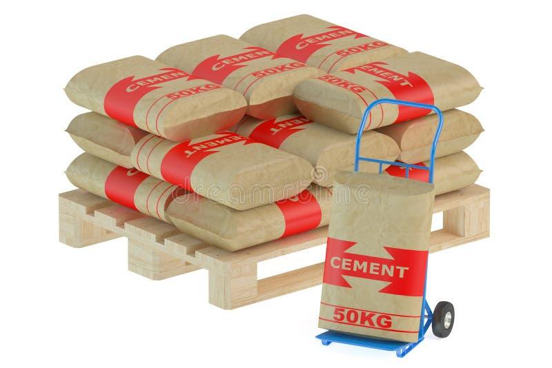 Sacos do cimento na pálete com caminhão de mão ilustração stock