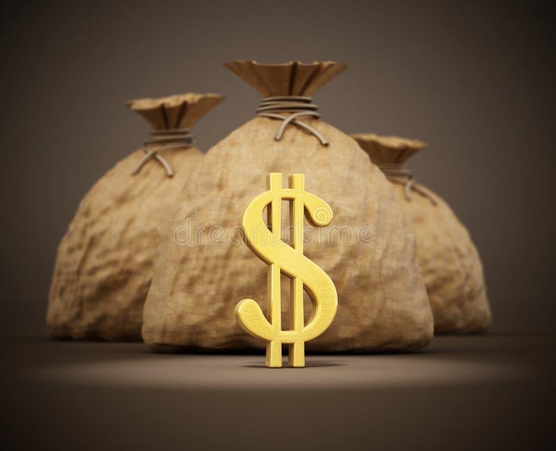 Sacos do dinheiro com ícones do dólar do ouro ilustração 3D ilustração do vetor