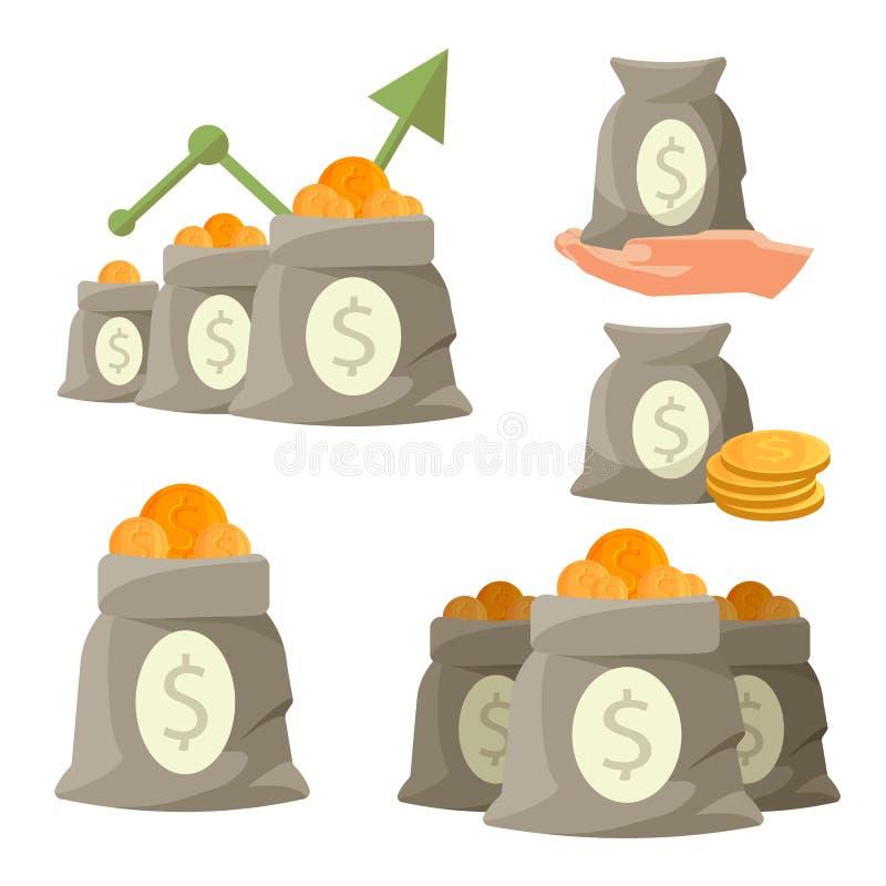 Sacos do dinheiro com as moedas douradas isoladas no fundo branco ilustração royalty free