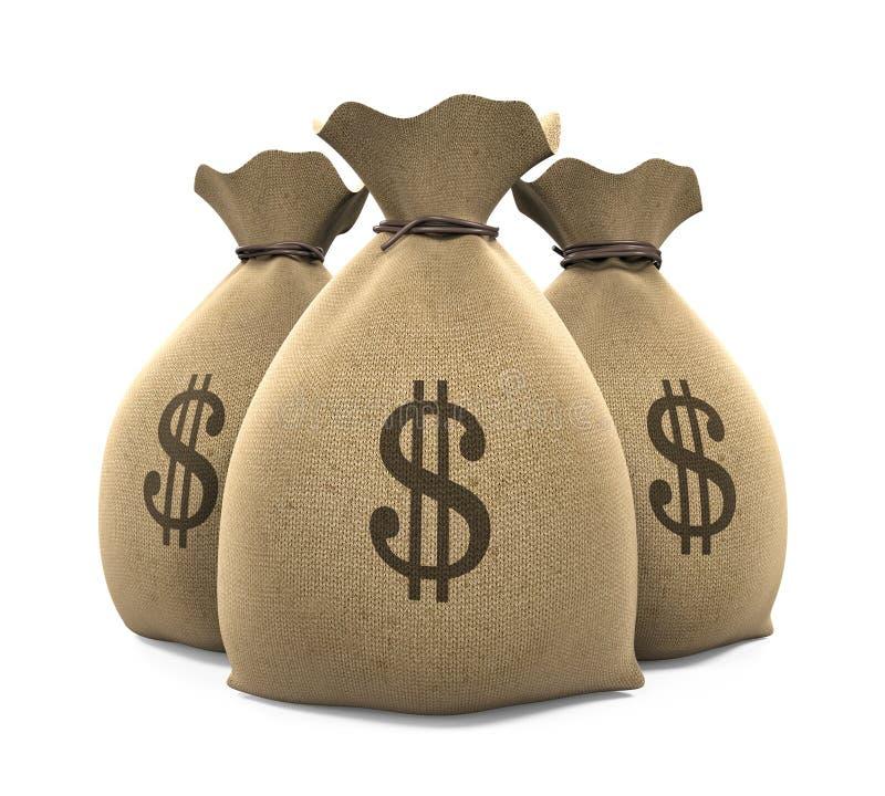 Sacos do dinheiro da lona ilustração royalty free