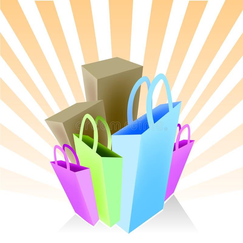 Sacos e caixas de compra ilustração do vetor